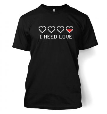 Pixellated I Need Love men's t-shirt