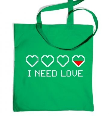 Pixellated I Need Love tote bag