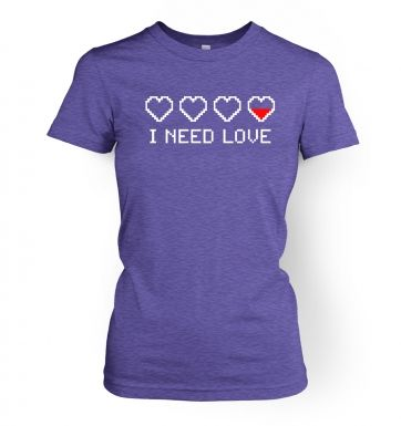 Pixellated I Need Love women's fitted t-shirt