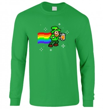 Pixellated Leprechaun long-sleeved t-shirt