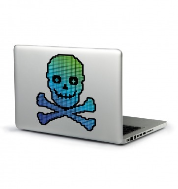 Pixellated Skull And Crossbones laptop sticker (blue and black)