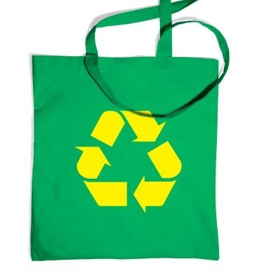 Yellow Recycling Symbol tote bag