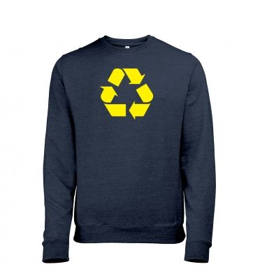 Yellow Recycling Symbol Mens Heather Sweatshirt