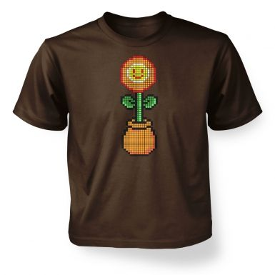 Red 8-Bit Flower kids' t-shirt