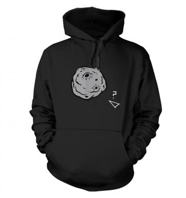 Retro 2D Arcade Spaceship v Real 3D Asteroid  hoodie