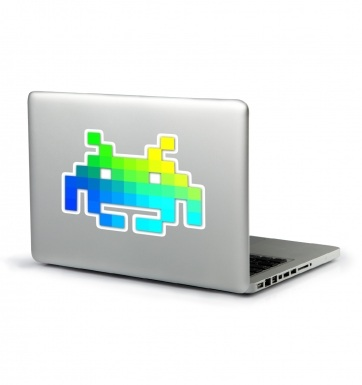 Space Invader laptop sticker