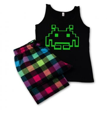 Alien Invader Pixel Art ladies pyjamas (womens)