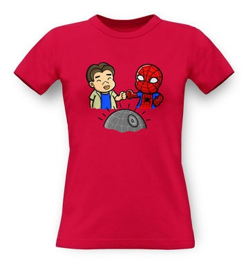 Spider-Man Death Star classic womens t-shirt
