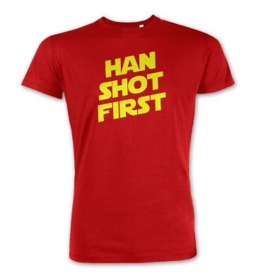 Han Shot First premium t-shirt