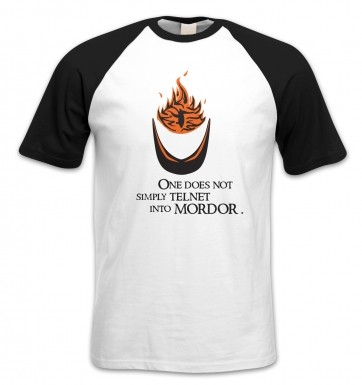 Telnet Into Mordor short-sleeved baseball t-shirt