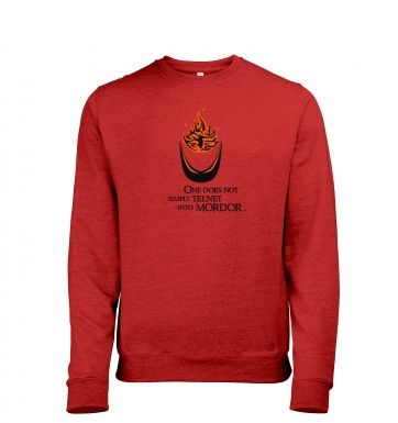 Telnet into Mordor heather sweatshirt