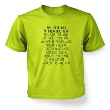 The First Rule Of Thesaurus Club  kids t-shirt