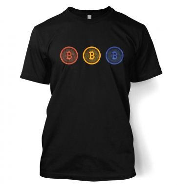Three Bitcoins Row men's t-shirt