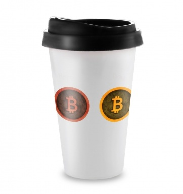 Three Bitcoins Row travel latte mug