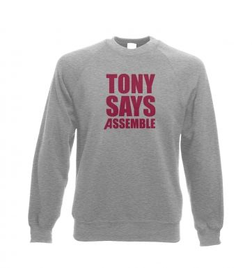 Tony Says Assemble Adult Crewneck Sweatshirt