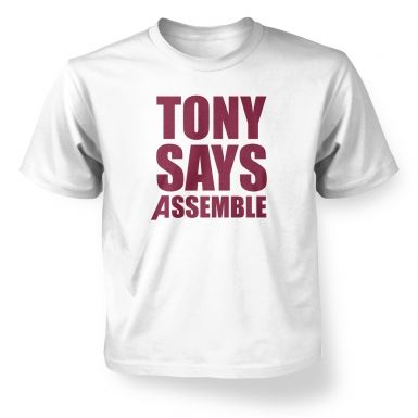 Tony Says Assemble Kids T shirt