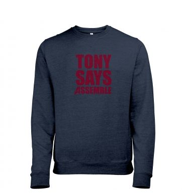 Tony Says Assemble Mens Heather Sweatshirt