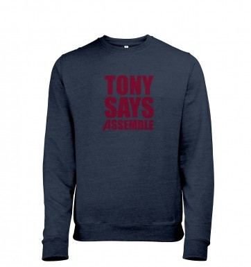 Tony Says Assemble heather sweatshirt
