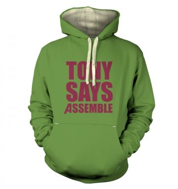 Tony Says Assemble Premium Adult Hoodie