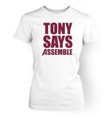 Tony Says Assemble women's t-shirt