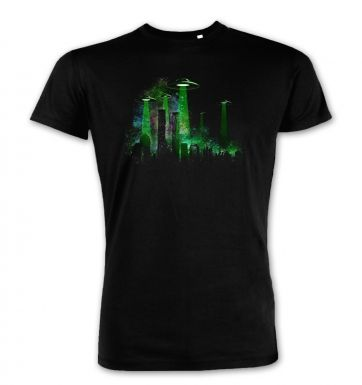 UFO Contact Green Flying Saucer premium t-shirt