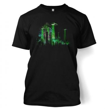 UFO Contact Green Flying Saucer t-shirt