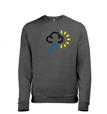 Weather Symbol Heavy Rain with Sun Mens Heather Sweatshirt