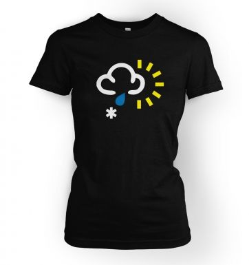 Weather Symbol Snow with Rain and Sun womens t-shirt