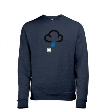 Weather Symbol Snow with Rain Adult Crewneck Sweater