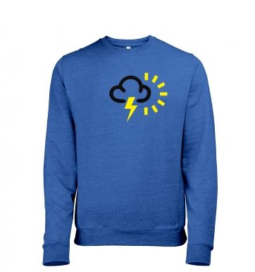 Weather Symbol Thunderstorms with Sun Mens Heather Sweatshirt