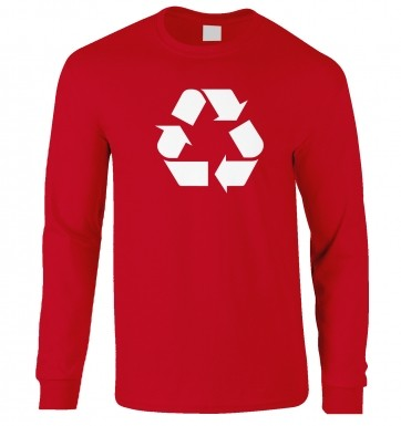 White Recycling Symbol long-sleeved t-shirt