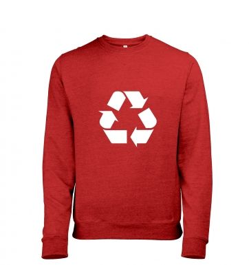 White Recycling Symbol Mens Heather Sweatshirt