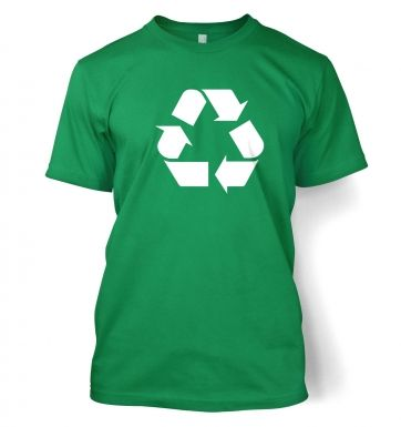 White Recycling Symbol Men's T-Shirt