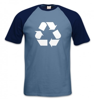 White Recycling Symbol short-sleeved baseball t-shirt