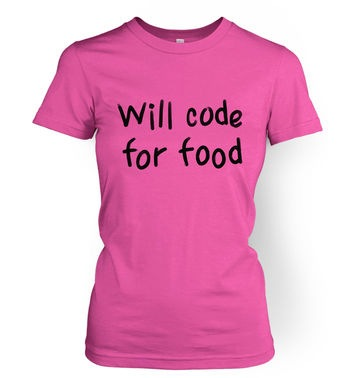 Will Code For Food women's t-shirt