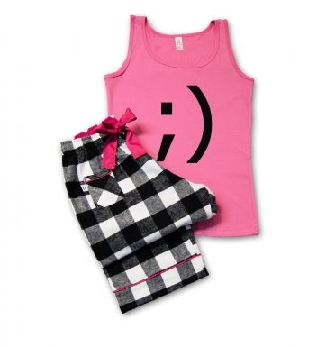 Premium Winking Emoticon Ladies' Pyjamas