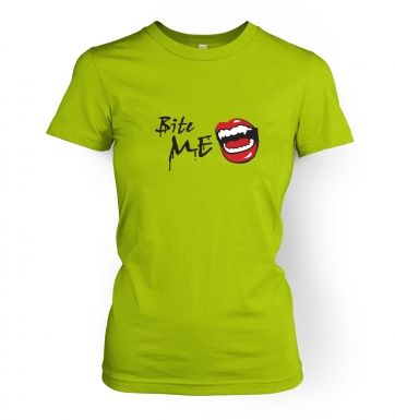 Bite Me! Vampire Fangs  womens t-shirt