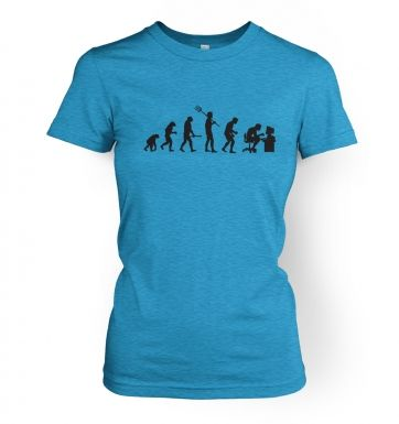 Women's Evolution of a geeky man (black detail) t-shirt