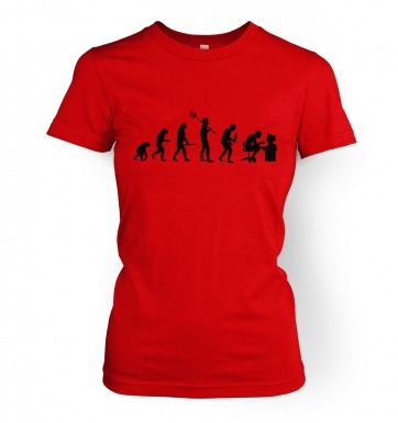 Evolution of a geeky man (black detail) womens t-shirt