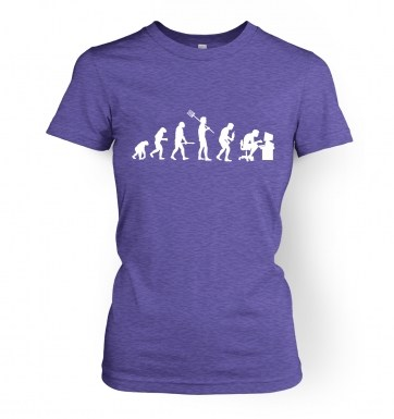 Evolution of a geeky man (white detail) womens t-shirt