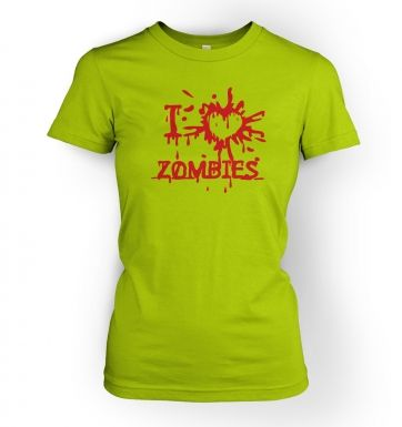 I heart zombies  womens t-shirt