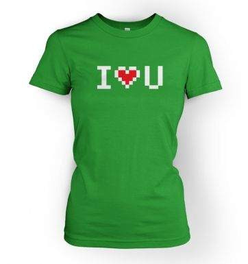 pixelated I heart u womens t-shirt