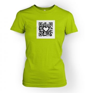 QR code heart womens t-shirt