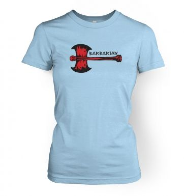 Red Barbarian Axe women's fitted t-shirt