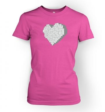 Shaped Brick Heart women's fitted t-shirt