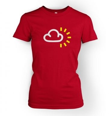 Weather Symbol Cloudy With Sun  womens t-shirt