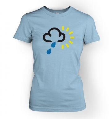 Women's Weather Symbol Heavy Rain with Sun t-shirt
