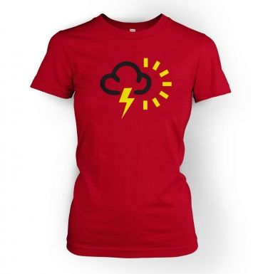 Women's Weather Symbol Thunderstorms with Sun t-shirt