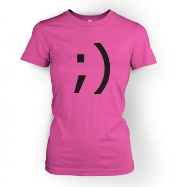 Wink Emoticon  womens t-shirt
