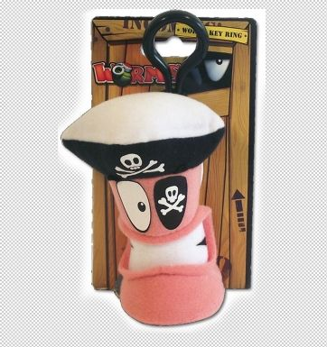 Worms Keyring Pirate Plush